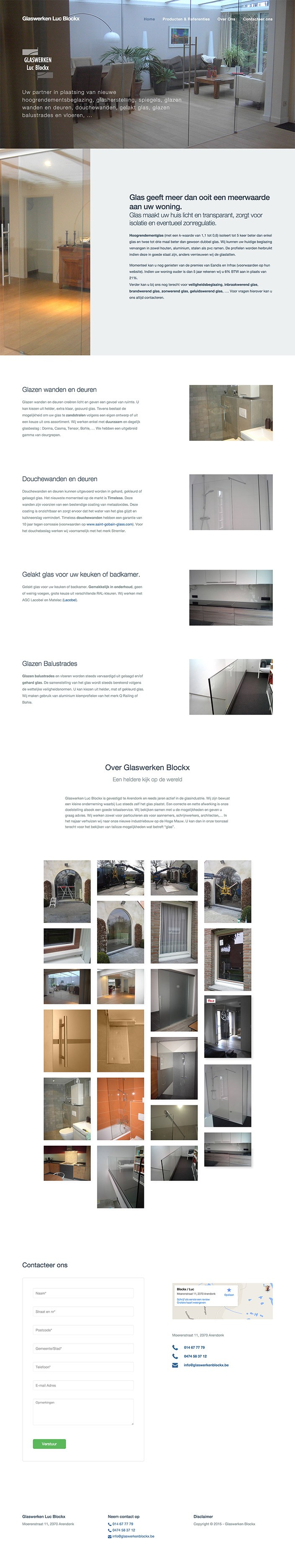 glaswerken Blockx onepager website single page